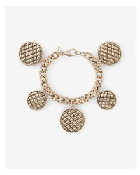 Express - Metallic Quilted Station Charm Bracelet - Lyst