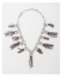 Express - Metallic Mixed Stone And Feather Station Statement Necklace - Lyst