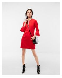 Express - Red Flounce Sleeve Keyhole Shift Dress - Lyst