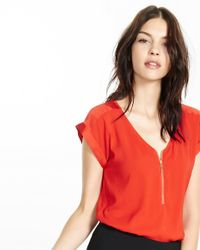 Express   Red Silky Zip Front Rolled Sleeve Blouse   Lyst
