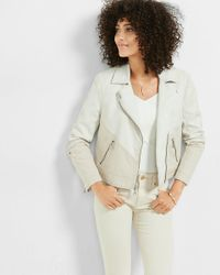 Express | Multicolor (minus The) Leather And Canvas Moto Jacket | Lyst