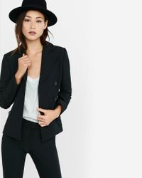 Express - Black Double Breasted Jacket - Lyst