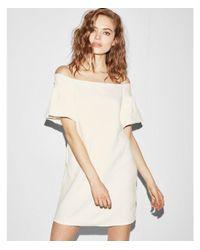 Express - White Jacquard Puff Shoulder Shift Dress - Lyst