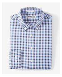 Express - Blue Extra Slim Fit Plaid Performance Dress Shirt for Men - Lyst