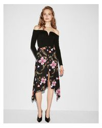 Express - Black Floral Asymmetrical Slit Front Midi Skirt - Lyst