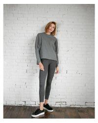 Express - Gray Heathered Puff Sleeve Hi-lo Sweatshirt - Lyst