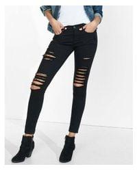 Express - Black Mid Rise Distressed Stretch Jean Leggings, Women's Size:16 Short - Lyst