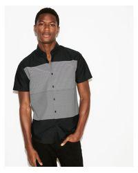 Express - Black Slim Mixed Stripe Short Sleeve Cotton Shirt for Men - Lyst