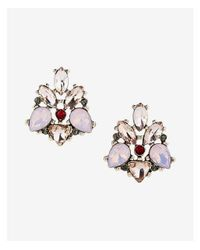 Express - Metallic Stone Statement Stud Earrings - Lyst