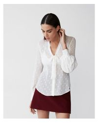 Express - White Petite Dot Tie Neck Shirt - Lyst