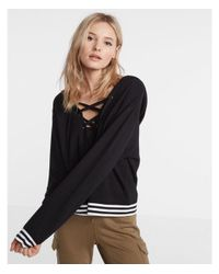 Express - Black One Eleven Lace-up Hooded Sweatshirt - Lyst