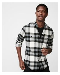 Express - Gray Slim Plaid Flannel Stretch Shirt for Men - Lyst
