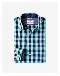 Express - Green Soft Wash Small Buffalo Check Shirt for Men - Lyst