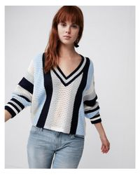 Express - Blue Mix Stitch Striped V-neck Sweater - Lyst