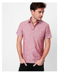 Express - Red Big & Tall Slim Short Sleeve Cotton Popover Shirt for Men - Lyst