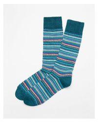 Express - Blue Stripe Fair Isle Boot Socks for Men - Lyst