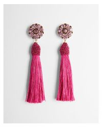 Express - Pink Round Stone Tassel Drop Earrings - Lyst