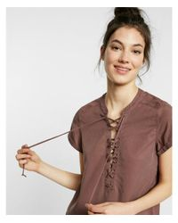 Express - Brown Short Sleeve Lace-up Tee - Lyst