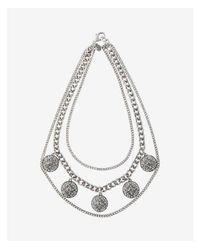 Express - Metallic Pave Station Layered Chain Statement Necklace - Lyst