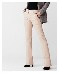 Express | Natural Mid Rise Piped Barely Boot Columnist Pant | Lyst