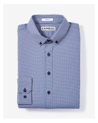 Express | Blue Slim Fit Small Check Performance Dress Shirt for Men | Lyst