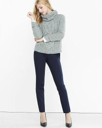 Express | Blue Pink Ultimate Double Weave Columnist Ankle Pant | Lyst