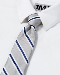 Express - Blue Tall Diagonal Stripe Narrow Silk Blend Tie for Men - Lyst