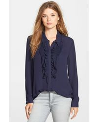 Vince Camuto | Blue Ruffle Front Blouse | Lyst