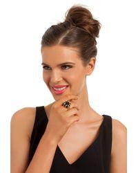 Trina Turk - Metallic Cube Ring W Pave Details - Lyst