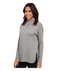 Vince Camuto | Gray Mock Neck Sweater W/ Ribbed Sleeves | Lyst