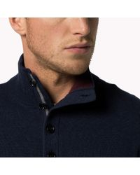 Tommy Hilfiger | Blue Wool Cotton Blend Sweater for Men | Lyst