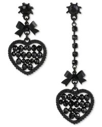 Betsey Johnson | Black-tone Heart And Bow Mismatch Drop Earrings | Lyst