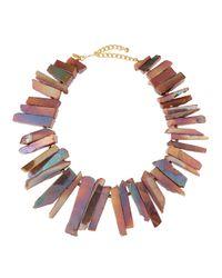 Kenneth Jay Lane - Agate Rocker Necklace Pink - Lyst