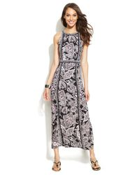 INC International Concepts - Black Petite Printed Maxi Halter Dress - Lyst