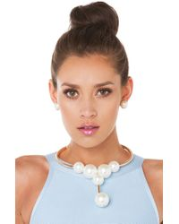 AKIRA - Natural Pearl Choker Cream Gold Necklace - Lyst