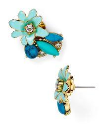 Kate Spade | Blue Glossy Petals Cluster Stud Earrings | Lyst