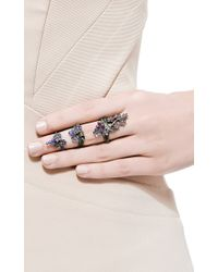 Lydia Courteille - Multicolor 18k Black Gold Harem King Ring with Fancy Saphires Amethysts and Tsavorites - Lyst