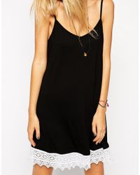 ASOS - Black Swing Dress With Lace Hem - Lyst