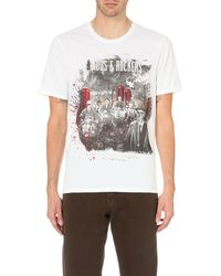 The Kooples | White Graphic Crew Neck T-shirt for Men | Lyst