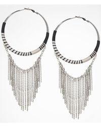 Express - Metallic Thread Wrapped Chain Fringe Hoop Earrings - Lyst