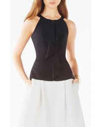 BCBGMAXAZRIA - Black Daysie Sleeveless Ruffle Top - Lyst
