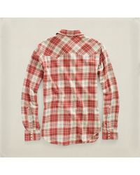 RRL - Natural Plaid Sawtooth Western Shirt for Men - Lyst