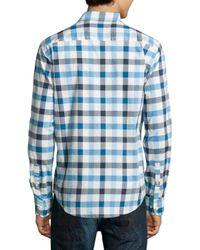 Neiman Marcus - Blue Plaid Long-sleeve Sport Shirt for Men - Lyst