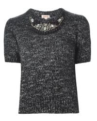 P.A.R.O.S.H. - Black Embellished Shortsleeved Sweater - Lyst
