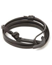 Miansai | Black Modern Anchor Leather Bracelet for Men | Lyst
