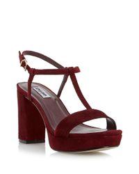 Dune | Purple Jilly Suede Platform T-strap Sandals | Lyst