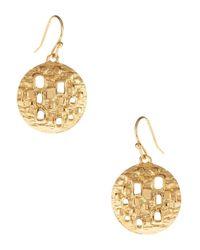 Trina Turk | Metallic Textured Disk Drop Earrings | Lyst