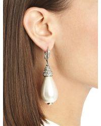 Oscar de la Renta | Metallic Pearl and Swarovski Petite Drop Earrings | Lyst