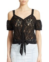 Guess | Black Leila Lace Top | Lyst
