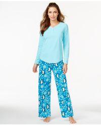 Hue - Blue Top And Fleece Pajama Pants Set - Lyst